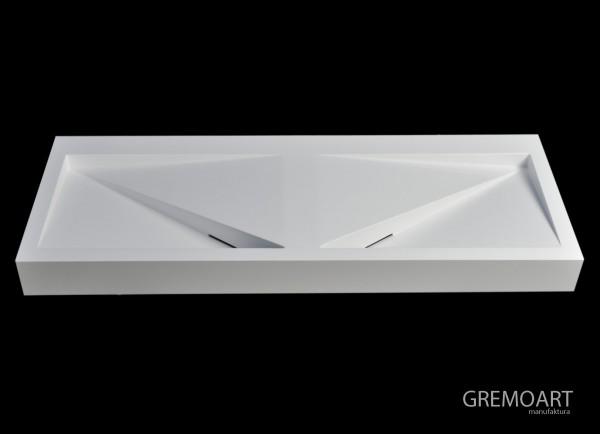 GremoArt Umywalka liniowa podwójna trójkąty